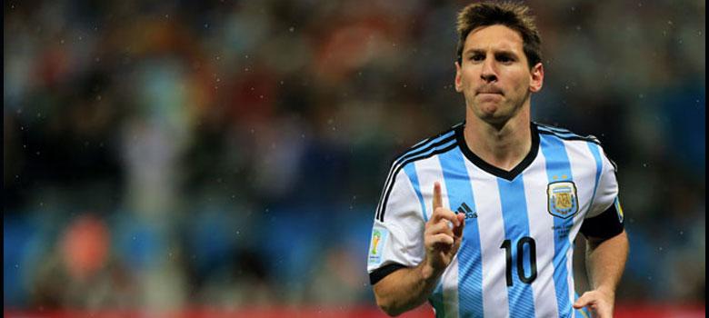 Messi celebrates an Argentina goal