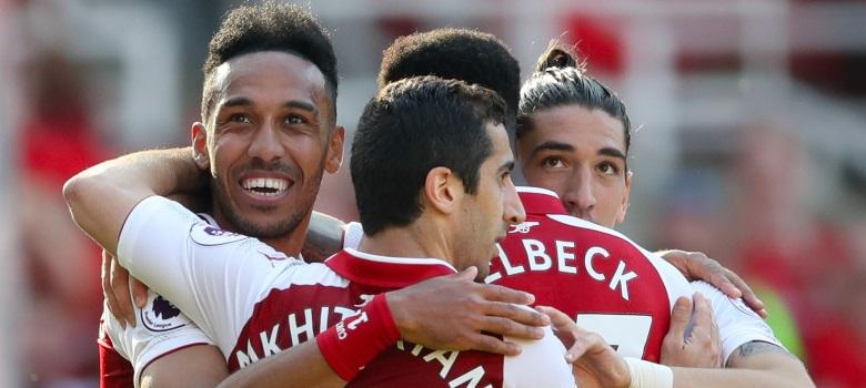 Aubameyang celebrates a goal