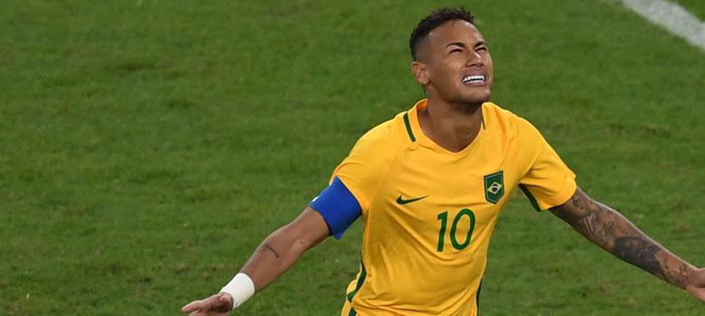 Neymar celebrates a goal for Brazil