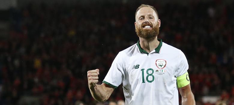 David Meyler celebrates for Ireland