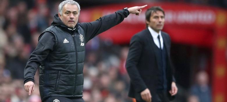 Jose Mourinho and Antonio Conte on the touchline.