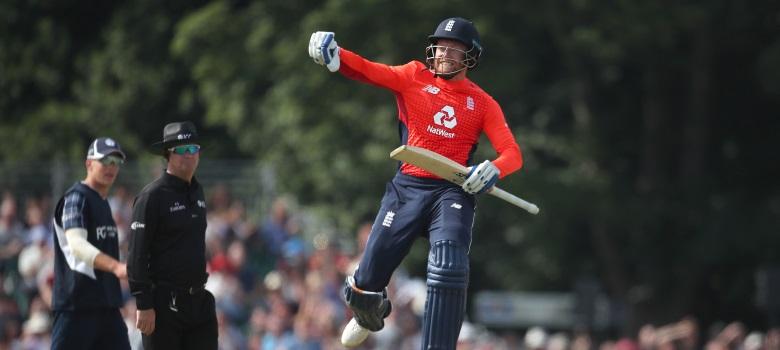 England's Jonny Bairstow celebrates.