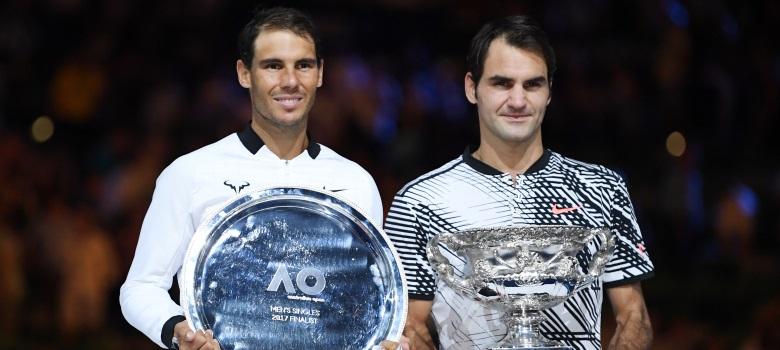Rafael Nadal and Roger Federer after last year's Australian Open final