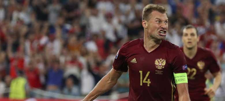 Russia celebrate scoring