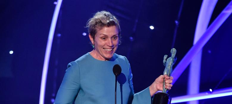 Frances McDormand picking up the Best Actress award at SAG Awards.