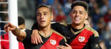 Oscar Trejo celebrates scoring for Rayo Vallecano