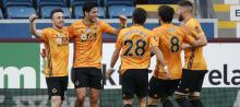 Wolves players celebrate Raul Jimenez's goal against Burnley
